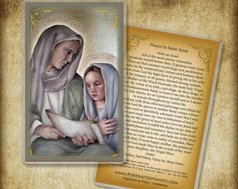 Saint Anne and Child Mary Holy Card or Wood Magnet #0056
