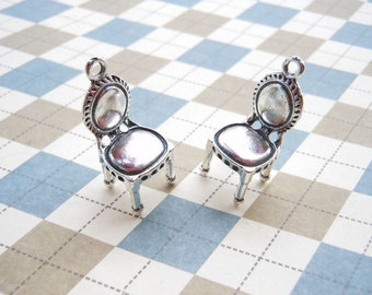 20 PCS 3D Antique Silver Chair Charm Pendant 14mmx30mm