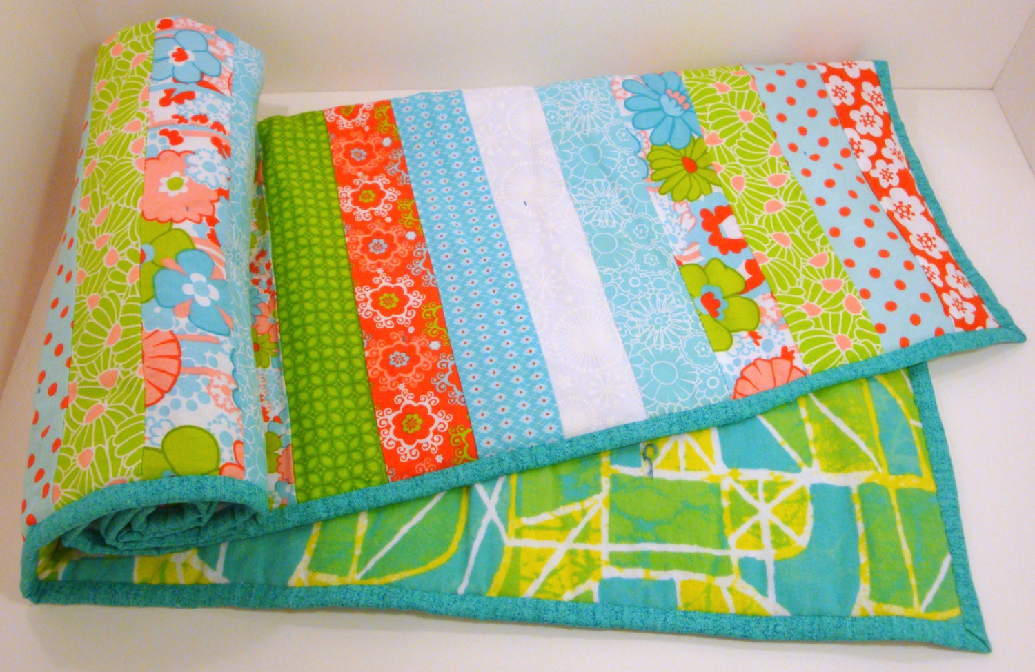 Baby Boy Or Baby Girl Quilt Jelly Roll Style With Flannel