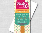 Summer Popsicle Birthday Invitation - Popsicle Themed Party - Digital Design or Printed Invitations - FREE SHIPPING