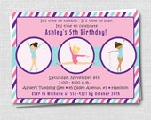 Classic Gymnastics Birthday Invitation - Gymnastics Theme Party - Digital Design or Printed Invitations - FREE SHIPPING