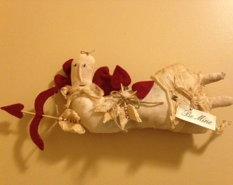 Handmade Primitive Valentine Cupid Flying with Bow and Arrow Hearts