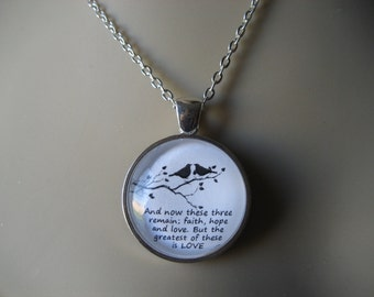Love Birds Bible Verse Pendant Necklace 1 Corinthians 13:13 Faith, Hope and Love, But the Greatest of These is Love - Bride Necklace
