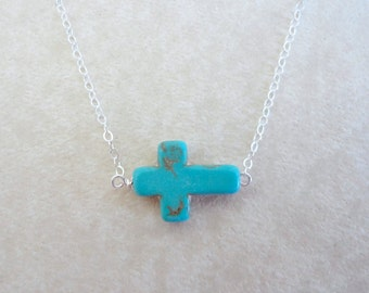 Turquoise sideways cross necklace, Gold filled chain, Simple everyday necklace