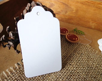 Pack of 50 Hang Tags Retro White Tag with Strings, 4x7 Scallop Price Blank Label