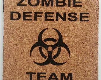 Zombie Defense Team cork coaster set