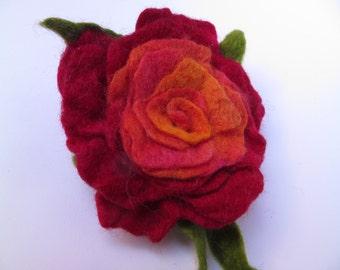 Brooch, rose, red, orange, pink, hand felted