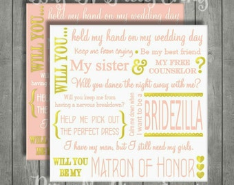 Will You Be My Matron of Honor Proposal Card. Blush Pink and Gold.