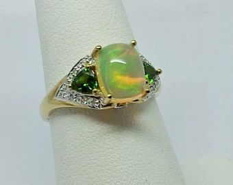 1.95 ctw Opal, Chrome diopside & Diamond accent round 10k yellow Gold ring Sz 8