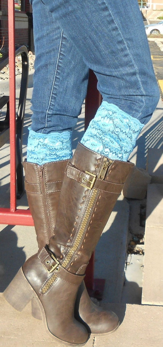 STRETCH LACE BOOT Cuff - Turquoise