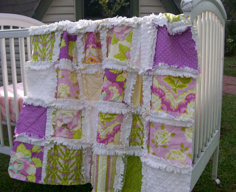 Baby Quilt Purple Lilac Crib Rag Quilt Minky Baby Girl Crib
