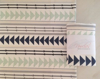 Mint and Navy Tribal Lines Organic Swaddling Blanket
