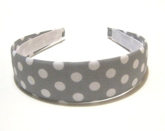 Fabric Covered Headband Gray White Polka Dots Girls Headband Adult Headband Cute Headband Preppy Boutique Birthday Gift Party Favors