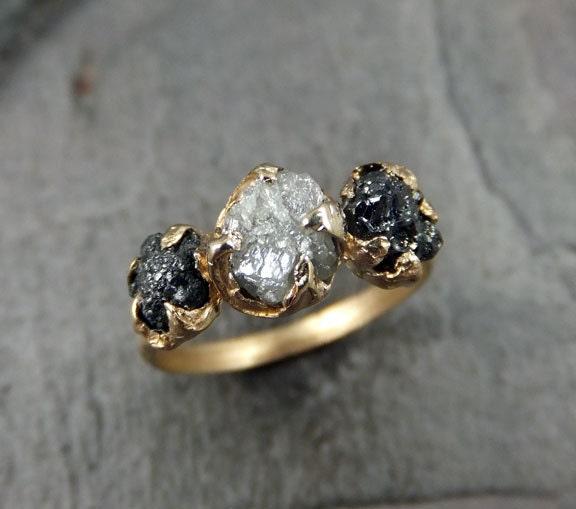 Rough Diamond Engagement Ring Raw 14k Gold Wedding Ring