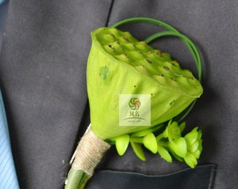 wedding boutonniere artificial lotus seed