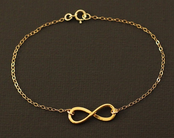 Gold Infinity Bracelet - 14K Gold Over Hand Hammered Sterling Silver - 14K gold filled chain