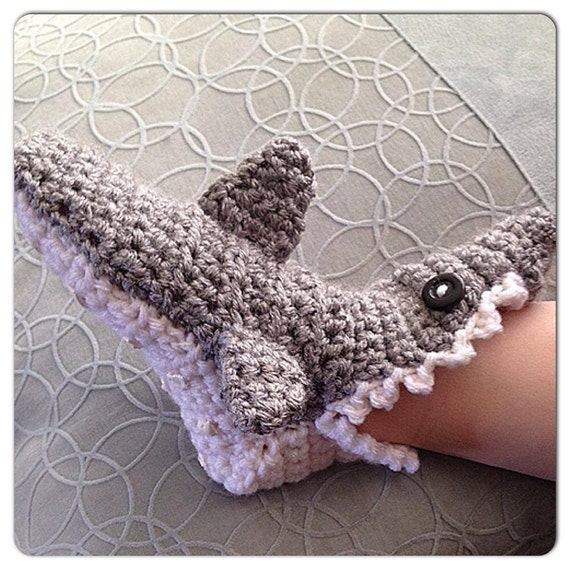 Crochet Pattern For Baby Shark Booties : Crochet baby Shark Slipper Socks with teeth and fins Made to