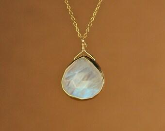 Moonstone necklace - gold moonstone - june birthstone - a fancy 22k gold bezel set faceted moonstone on a 14k gold vermeil chain