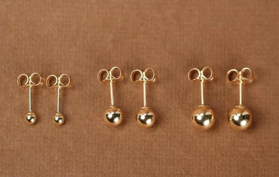 Gold ball earrings - gold dot earrings - gold studs - tiny ball earrings - little gold ball studs - 14k gold filled ball stud earrings