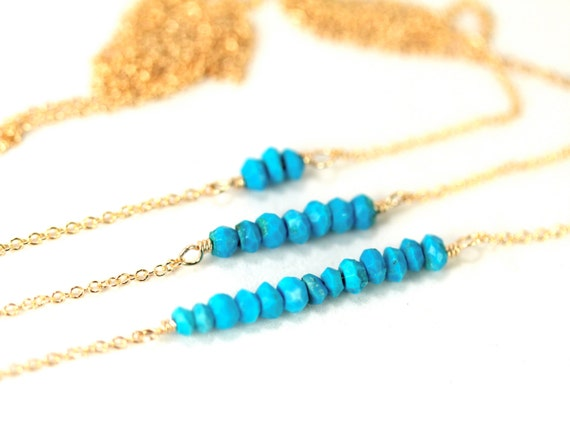 Turquoise necklace - bar necklace - simple - everyday - a row of tiny arizona turquoise wire wrapped onto a 14k gold vermeil chain