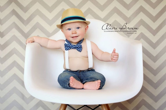 Blue polka dot bow tie and white suspenders set for boys ring for Baby shirt and bow tie