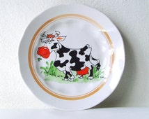 Children Plate with Cow, Kid's Porcelain Plate, White Fine China from Soviet Union USSR Tableware