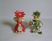 HTF Vintage Merry Christmas Sweet Hearts porcelain Napco Angel Girl Poinsettia & Tree Holly Leaves Boy Salt pepper Shakers  Japan figurine