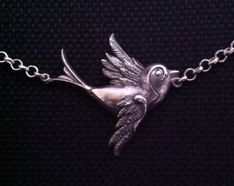 Classic  Old School Tattoo Swallow Necklace