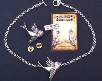 Swallow necklace / brooch / earrings SPECIAL OFFER