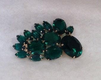 Vintage Emerald Colored Vintage Brooch