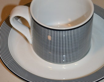 Dansk Bistro Blue Trim Mug and Saucer