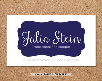 Business Card Template - Navy Frame-  DIY Editable Word Template, Instant Download, Printable
