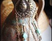 Bohemian earrings, boho gipsy style, clay women face, filigree,Chandelier, neo vintage, victorian,summer festival,trends 2014, hippie, OOAK