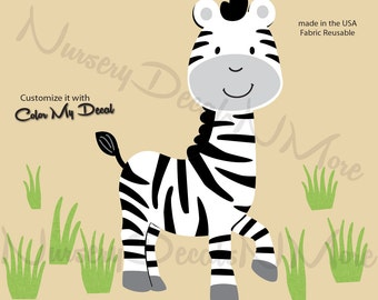 Zebra wall decal, Zebra Decal,  Jungle Safari Decals (Zebra Grass) AOC