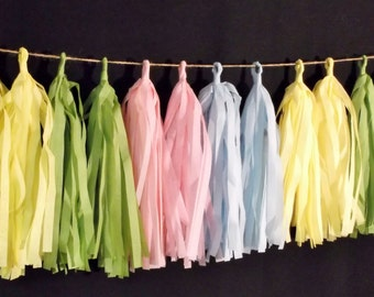 20 Tassel EASTER Tissue Paper Garland, Easter Decorations, Pink Blue Yellow Green, Party Decorations, Balloon Tassels, Tassel Garland, Poms