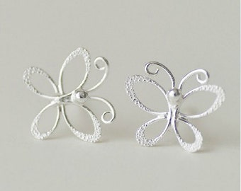 925 Sterling Stereoscopic Butterfly Silver Stud Earrings S140