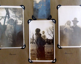Happy 1920's Family album  with  22 black and white (or sepia) photographs, plus  a strip of eight small prints.