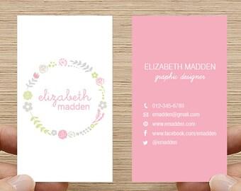 Wreath Business Card, Calling Card, Printable Custom Digital Download DIY, Flower Floral Design, Double sided