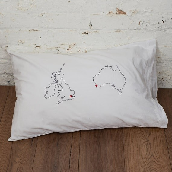 Cute Long Distance Pillow Cases : Long distance relationship Personalised map pillowcase