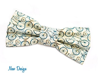 Vintage Bicycle Bow Tie with Adjustable Strap, mens bow ties, boys bowties, kids bow ties, sizes