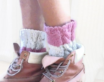 Knitted Boot Cuffs, Pink Grey, Knit Boot Cuffs, Leg Warmers, Boot Toppers, Knit Boot Socks