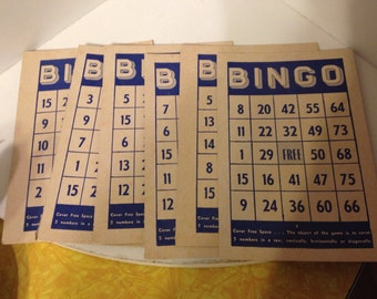 Vintage Bingo Cards - Set of 6