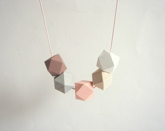 Pastel Geometric Necklace, Wood Beads Necklace, Hexagon Necklace,