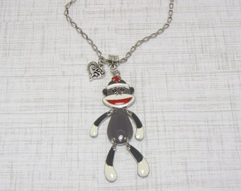 Sock Monkey Necklaces, Dangling Arms And Legs Sock Monkey, Button Eyes Sock Monkey Necklace With Heart Charm, Sock Monkey Jewlery