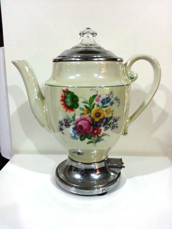 Vintage Electric Coffee Maker : Items similar to Antique Porcelain Electric Coffee or Tea Maker on Etsy