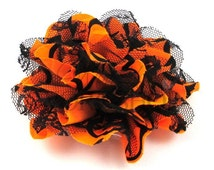 "Halloween - Neon Orange & Black Lace - Set of 3 Large 4"" Chiffon Lace Flowers - CLF-104"
