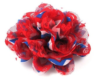 "Patriotic Chevron w/ Red Lace - Set of 2 Large 4"" Chiffon & Lace Flower - CLF-084"