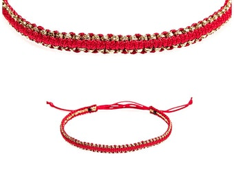 Tiny Gold Red Kabbalah macrame bracelet - modern red bracelet - Gold kabbalah bracelet, Red bracelet, gold kabbalah