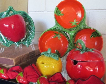 Vintage Fruit and Veggie Dishes