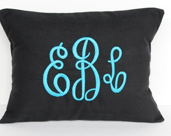 Monogrammed Pillow Decorative Throw Pillow Cover Personalized Home Decor ALL SIZES Baby Gift Dorm Decor
